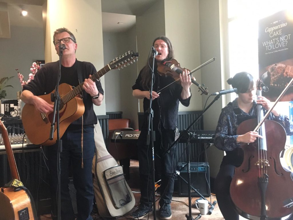 Ian Roland & The Subtown Set at Caffè Nero today for #chilloutbrighton Thank you Talentbanq and CaffeNero for inviting us to play. #folk #altfolk #soulfolk #brighton